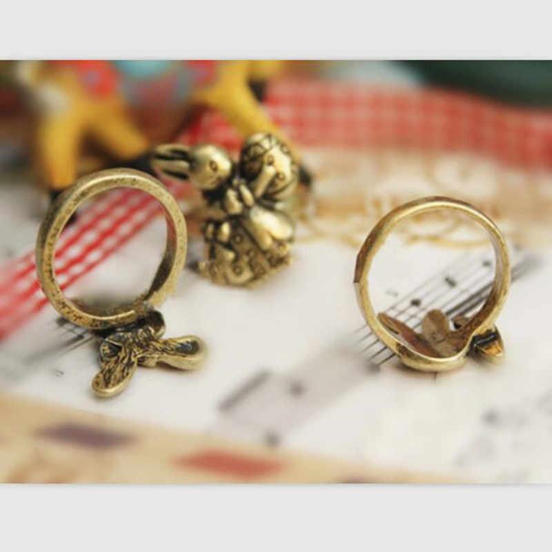 Vintage น่ารักกระต่ายกับแครอทแหวนที่สวยงามสัตว์แหวนผู้หญิงผู้ชายเด็กเครื่องประดับวันเกิดของขวัญ