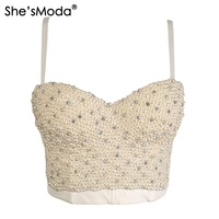 High End Hand Made Pearls Jewel Diamond Bralet Women S Bustier Bra Cropped Top Vest Plus
