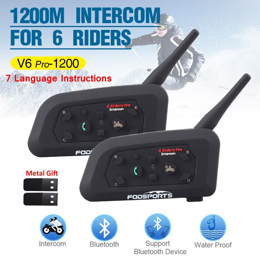 2 pçs v6 pro multi bt interfone 1200 m moto rcycle capacete bluetooth intercomunicador moto fone de ouvido para 6 passeio ipx5 mp3 gps
