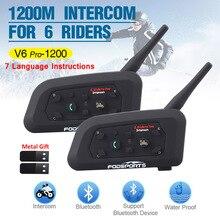 2Pcs Fodsports V6 Proรถจักรยานยนต์อินเตอร์คอมไร้สายBTชุดหูฟังบลูทูธIntercomunicador 1200M 6 Ride