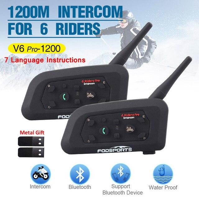 2pcs Fodsports V6 פרו אופנוע קסדת אינטרקום אלחוטי BT bluetooth אוזניות intercomunicador 1200M 6 נסיעה