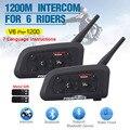 2pcs V6 Pro Multi BT Interphone 1200M Motorcycle Bluetooth Helmet Intercom intercomunicador moto headset for 6 Ride IPX5 MP3 GPS