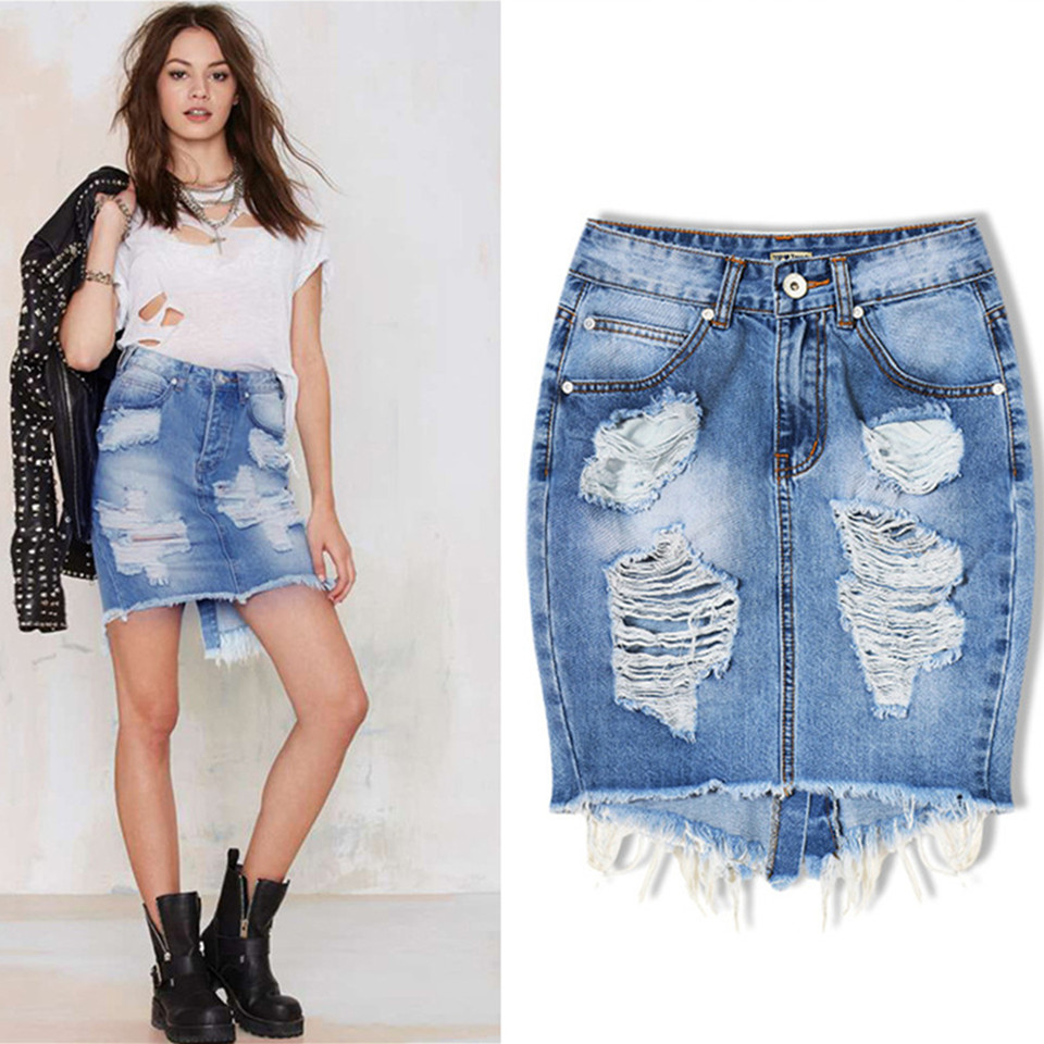 Online Get Cheap Ripped Jeans Skirts -Aliexpress.com | Alibaba Group