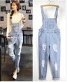 Fashion Woman Sexy Autumn-Summer Overalls Blue Strap Ripped Pockets Denim Jumpsuits For Women New Hot Sale Bodysuits 9778