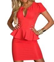 EAS 2016 Hot Sale 4 Color Lotus Leaf Lace Sexy V Neck Waist Women Dress Clubwear