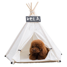 JORMEL Pet Tent Dog Bed Cat Toy House Portable Washable Pet Teepee Stripe Pattern  Lace Pet House Four seasons universal