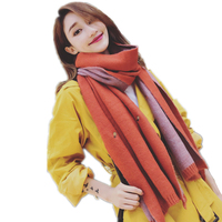 สไตล์เกาหลีฤดูหนาวผ้าพันคอผู้หญิงแฟชั่นเย็บปักถักร้อยผ้าคลุมไหล่และห่อข้นถักอุ่นecharpe
