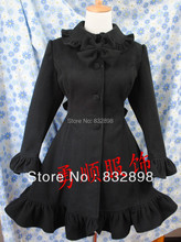 Customizable  Ruched Lolita Wool Winter Coat Girls Winter Coats Brand Long Winter Coat