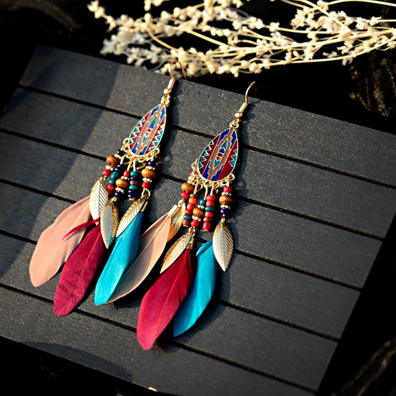 Bohemian Feather Tassel Earrings For Women 2019 Ohrringe Water Drop Vintage Statement Earrings Boho Indian Jewelry Kolczyki