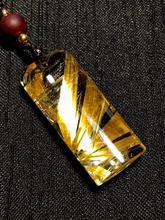 Top Quality Natural Gold Rutilated Quartz Pendant Titanium Rectangle Gemstone AAAAAA Gift 31x13x7mm Crystal Stone Certificate цена