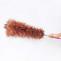 1pc Feather Duster 60cm Fur Plastic Brush Hooked Handle Dust Cleaning Anti static Tool Random Color High Quality Handcrafted