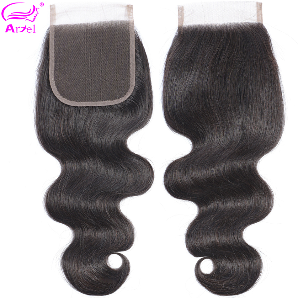 Ariel Lace Closure Human-Hair-Closure-Piece Body-Wave Brown Non-Remy Natural-Color Peruvian