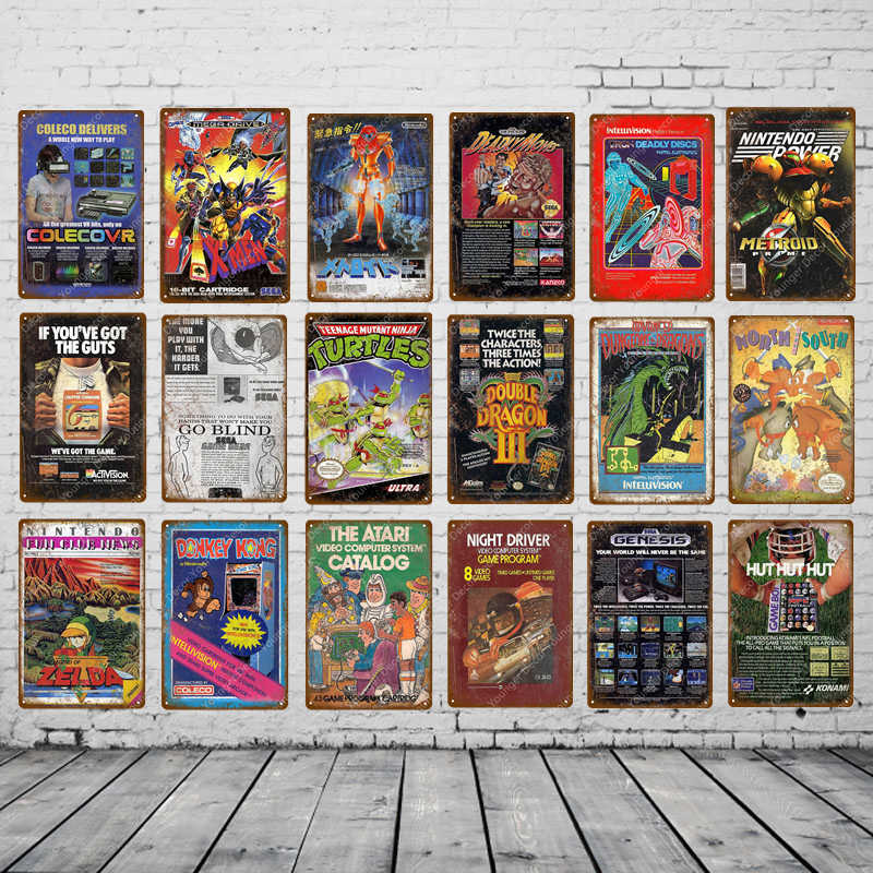 Play Gaming Video Game Poster Vintage Metal Plate Wall Art Painting Decorative Plaque Kids Room Home Decor Gamer Tin Signs