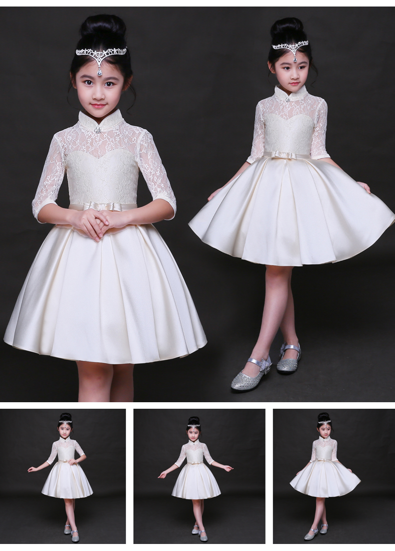 HTB1eZy3SFXXXXXqXXXXq6xXFXXXp - Baby Girl Kid Evening Party Dresses For Girl Wedding Princess Clothing 2017 New Solid Color Bow Moderator Dress Children Clothes