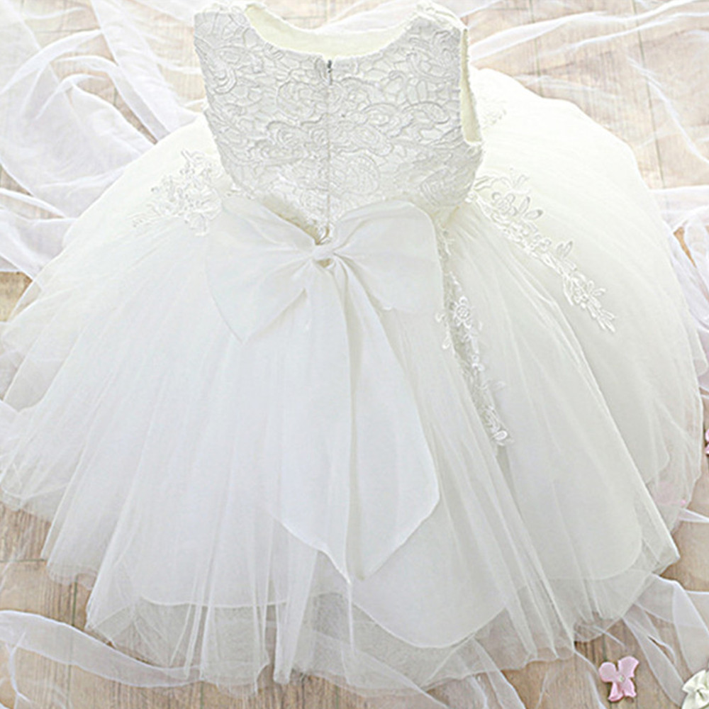 393b791c870 Vestido de fiesta de niña recién nacida para niñas 1 año vestido de princesa  de cumpleaños encaje vestido de bautizo ropa de bebé blanco de Bautismo ...