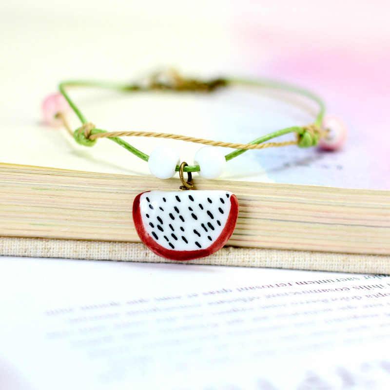 Fashion Handmade Cute Little Strawberry Watermelon Fruit Bracelet Beach Summer Feminine Jewelry Birthday Gift