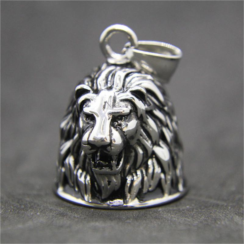все цены на 1pc Newest Animal Lion Head Bell Pendant 316L Stainless Steel Jewelry Biker Style Cool Bell Pendant