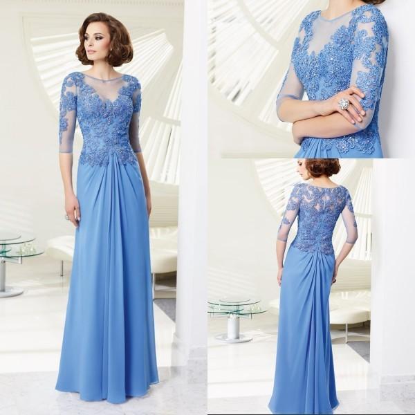 2014 lente & zomer Bateau hals applicaties Half mouwen blue maxi moeder van de bruid jurken