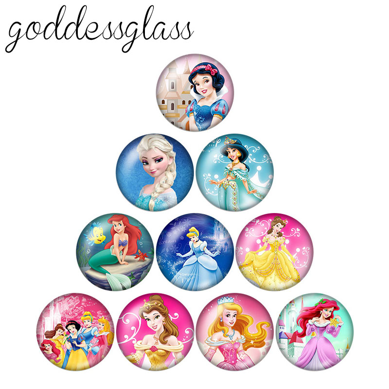 Princesses Anna&Elsa Dora Girls Gift 10pcs Mixed 12mm/18mm/20mm/25mm Round Photo Glass Cabochon Demo Flat Back Making Findings