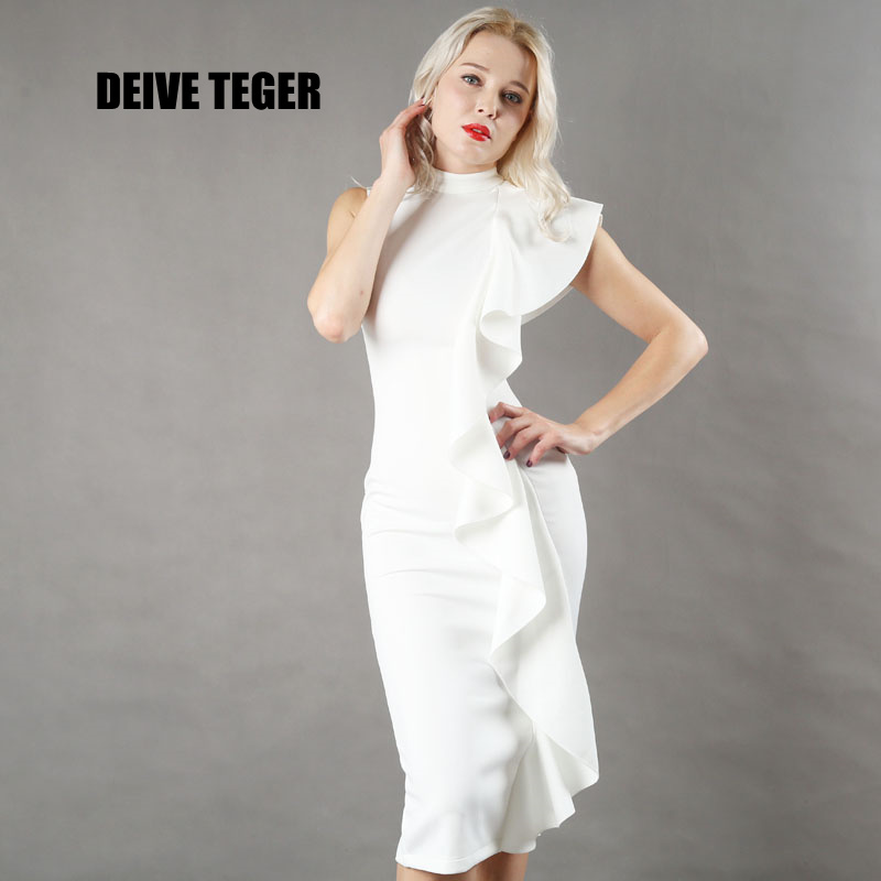 DEIVE TEGER New Style Women Sexy White Sleeveless Patchwork Ruffles knee-length Bodycon Vestido party Dresses Clubwear BY124