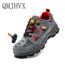 hot deal buy big size 35-46 fashion safety shoes men steel toe cow suede men work shoes breathable wear-resisting puncture-proof safety boots