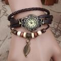 Лидер продаж, винтажные часы-браслет с подвеской в виде листьев из коровьей кожи, Женские кварцевые наручные часы, Relojes Mujer KOW031 - фото