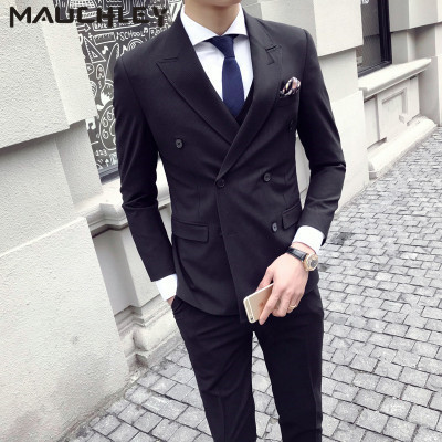 d19f5b3e5297e5 Formal Wedding Prom Dress Suits Slim Fit 3 Pieces Double Breasted Suits Mens  Black Pinstripe Tuxedo