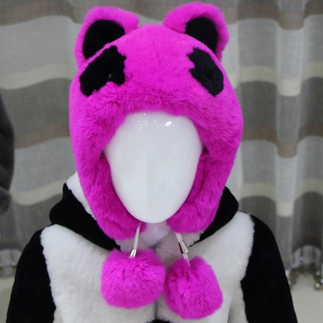 Child Winter Hat Genuine Rex Fur Cartoon Cute Panda Hat Warm Thick Cap 2016 New Hot Sale Kids Hat Top Handmade Children Cap