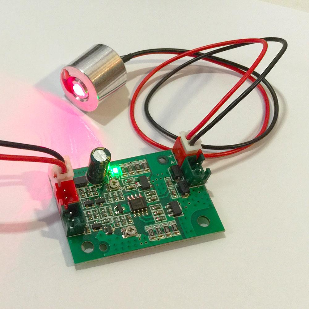 650nm 100mW Diode Red Laser Module + Free Laser Driver Board(DC5V input, 808nm/532nm&650nm + TTL)