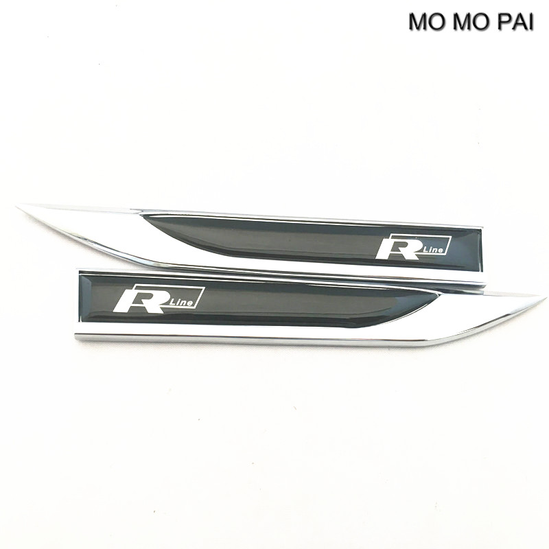 MOMO PAI TDI RLINE 3D Metal R Line Auto Blue Left & Right Fender Skirts Knife Type 3D Sticker Emblems fit For VW styling