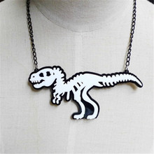 Fashion Jewelry Custom Women Acrylic White Dinosaurs Pendant Necklace Sweater Link Chain Trendy Animal Necklaces