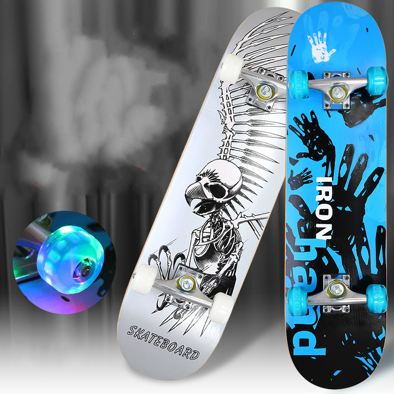 Four wheel skateboard double rocker road skate adult children 4 wheeled skateboard scooter scooter skateboard professional maple виниловая пластинка iron maiden dance of death