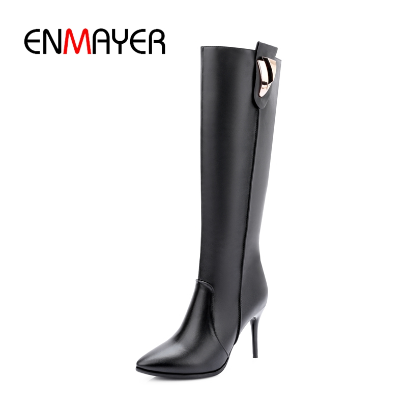 ENMAYER New Arrival Top quality women solid zip knee high thin heel boots lady high heel fashion boots ZYL724ENMAYER New Arrival Top quality women solid zip knee high thin heel boots lady high heel fashion boots ZYL724