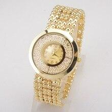 2017 Nueva Moda de Lujo Mujeres Rhinestone Pulsera de Reloj de Cuarzo de Oro de Acero Lleno Vestido de Las Mujeres Señoras Del Reloj de Diamantes Relojes de Pulsera