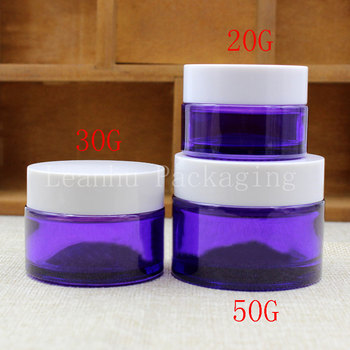 20/30/50G Purple Glass Cream Jar With White Screw Cap, Empty Cosmetic Container, Mask/Cream Sub-bottling (15 PC/Lot)