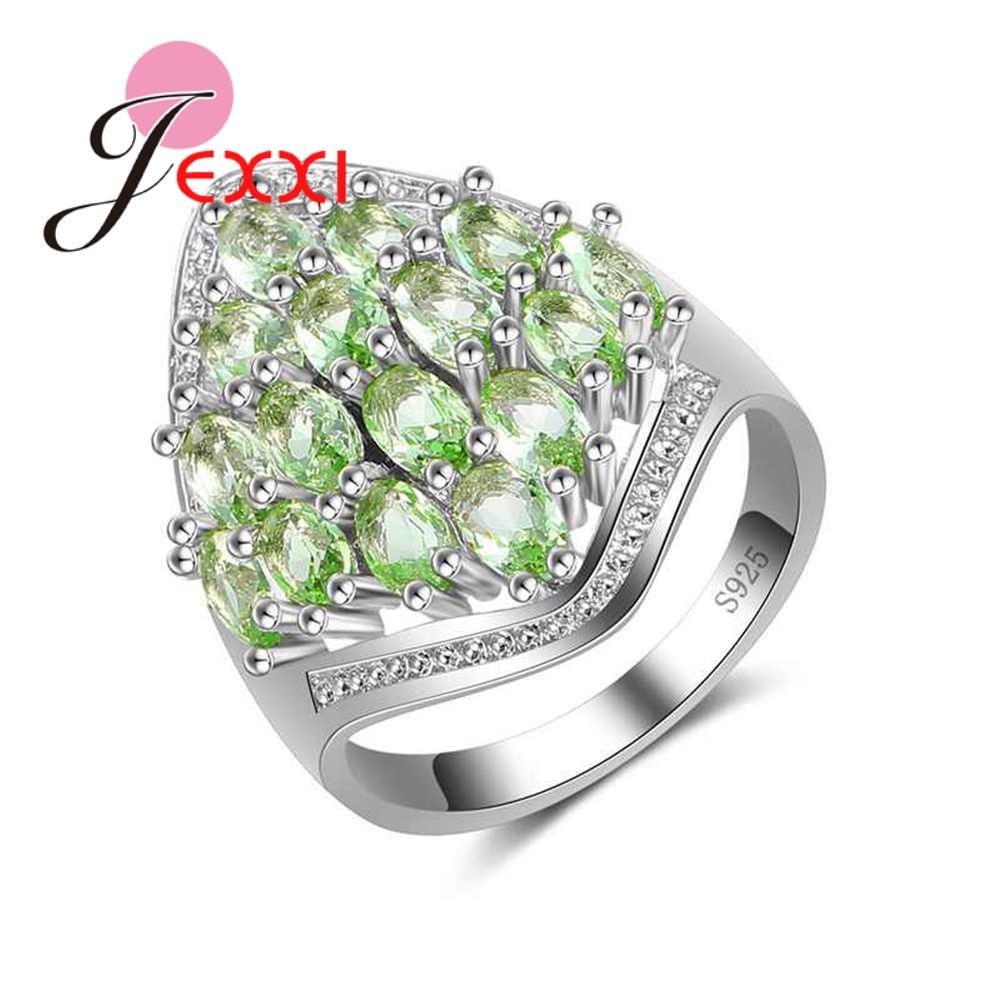 JEXXI Luxury Green Cubic Zircona Rings For Women Bridal Wedding Jewelry Gift 925 Silver Bands Style Engagement Ring Bague Femme