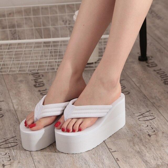 2016 лето мода ультра высокие каблуки скольжению вьетнамки босоножки на платформе клинья тапочки женский