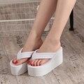 2016 moda de verano talones Ultra altos antideslizantes Flip flop sandalias de plataforma cuñas zapatillas femeninas