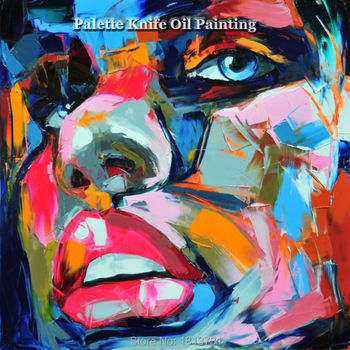 Hand painted Francoise Nielly Palette knife portrait Face Oil painting Character figure canva wall Art picture13-20