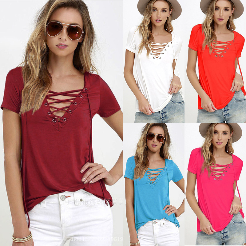 a2836dd03c8 Summer Fashion Women T-shirts Short Sleeve Sexy Deep V Neck Bandage Shirts  Women Lace Up Tops Tees T Shirt Plus Size