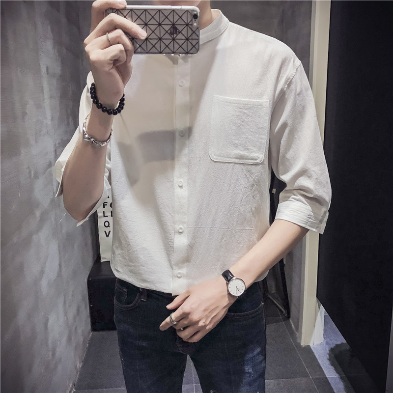 2018 Summer New Pattern Personality Solid Color Seven Part Sleeve Shirt sholt letter city boy fashion Favourite Free shipping