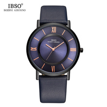 IBSO Mens Watches Brand Luxury 7 MM Ultra-thin Watch Men Genuine Leather Strap Blue Quartz Wristwatch Fashion Relogio Masculino