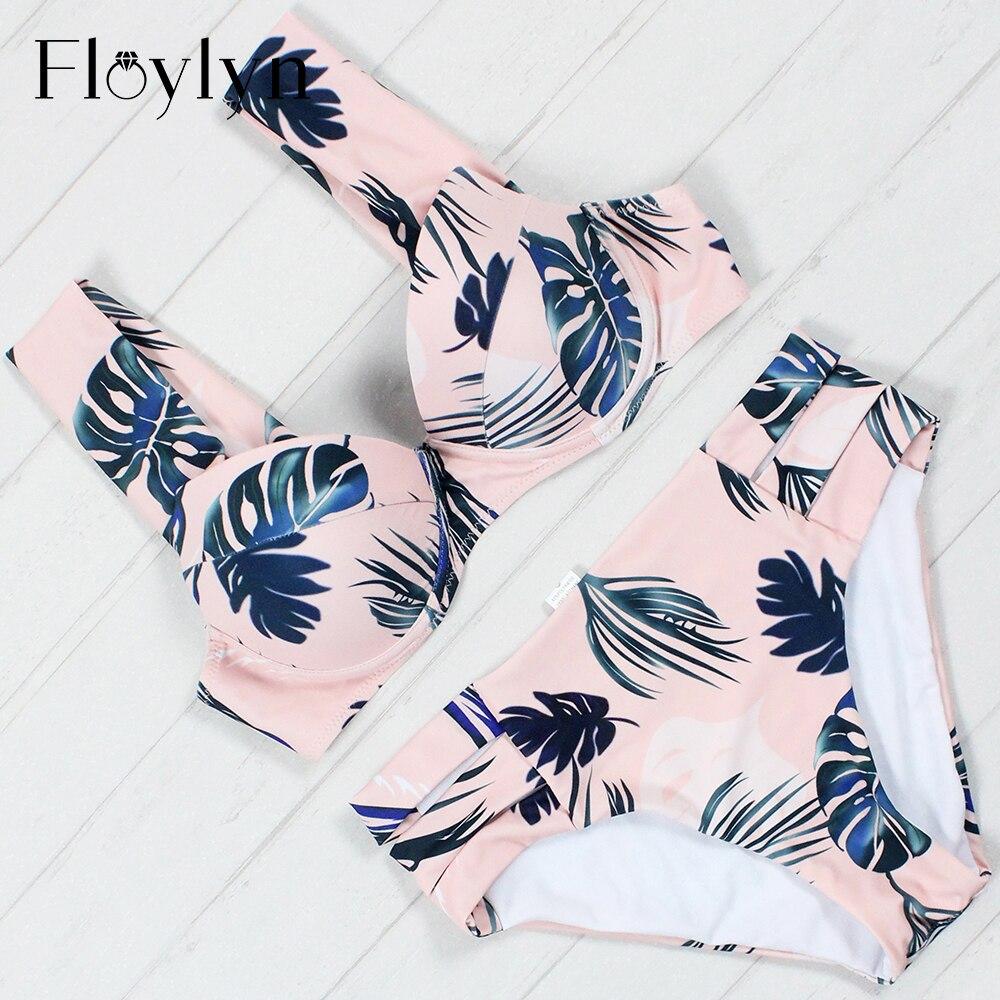 Floylyn Plus Size Swimwear Sweet Feather Sexy Bikini Swimsuit Bather Off Shoulder Bandeau Bathing Suit Swimming Female plus size lace off shoulder teddy