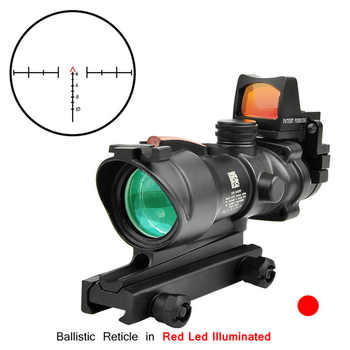 Trijicon ACOG 4X32 Real Fiber Optics Red Dot Illuminated Chevron Glass Etched Reticle Tactical Optical Scope Hunting Optic Sight