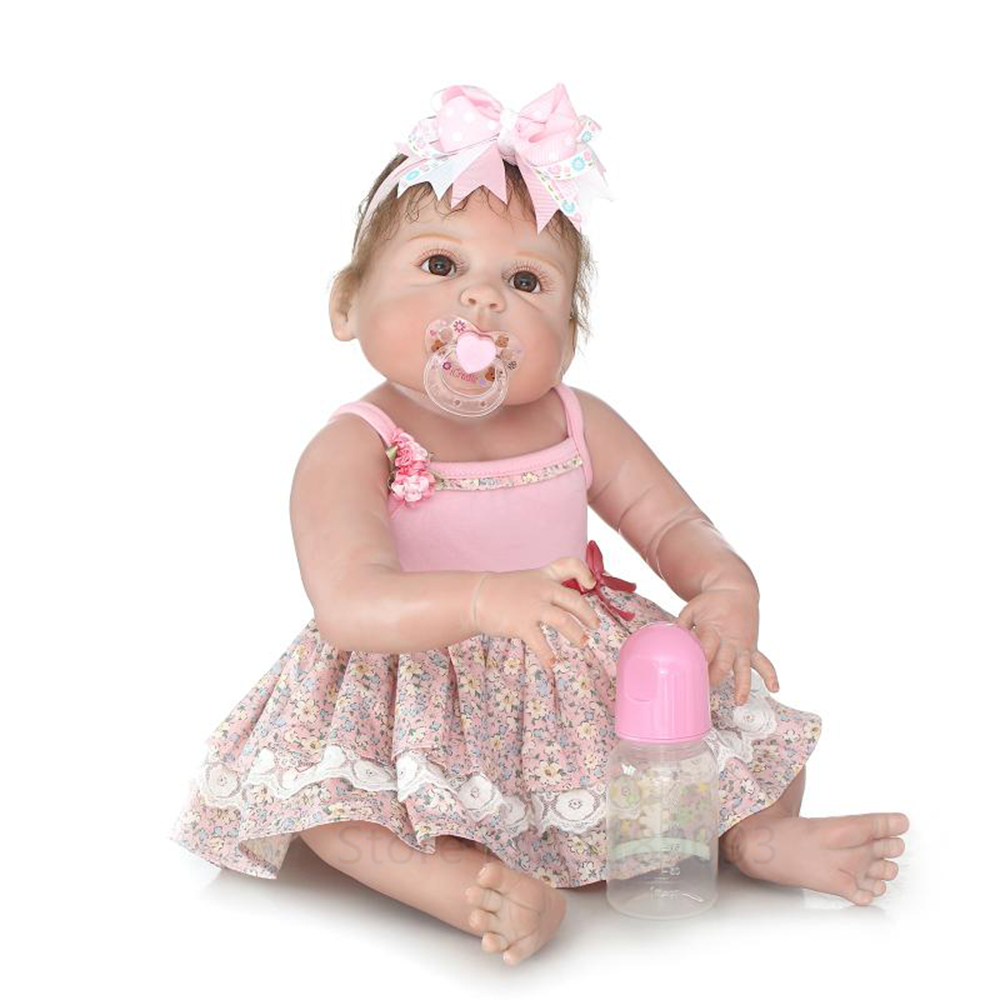 New 22 Inch Lovely Adorable Princess Girl Reborn Doll Realistic Silicone Handmade Lifelike Full Body Silicone Sleeping Baby DollNew 22 Inch Lovely Adorable Princess Girl Reborn Doll Realistic Silicone Handmade Lifelike Full Body Silicone Sleeping Baby Doll