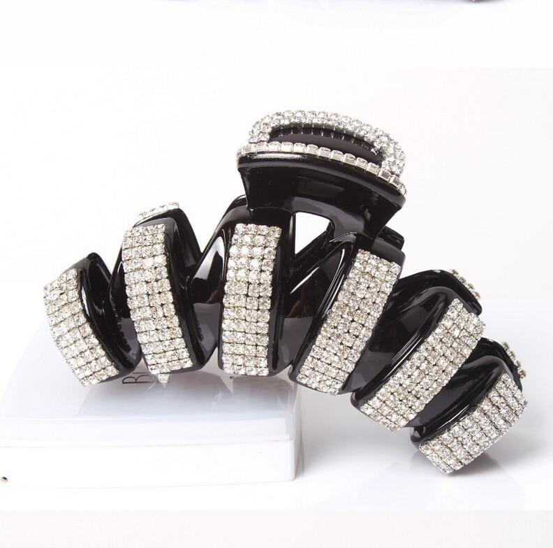 Super Bling Hair Accessories Ab White Rhinestone Arched Strip Hair Claw Clip Black Hair Claw 2 Size Choosed Free Shipping