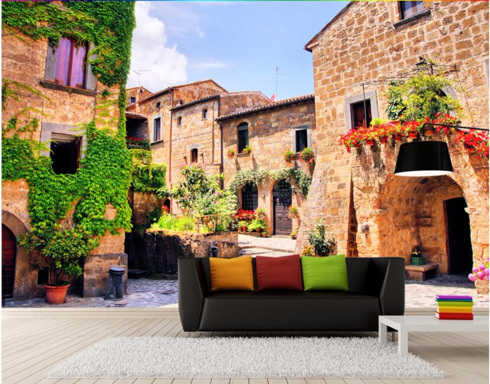 Wdbh custom mural 3d wallpaper italian town of europe home for 3d wallpaper for home decoration