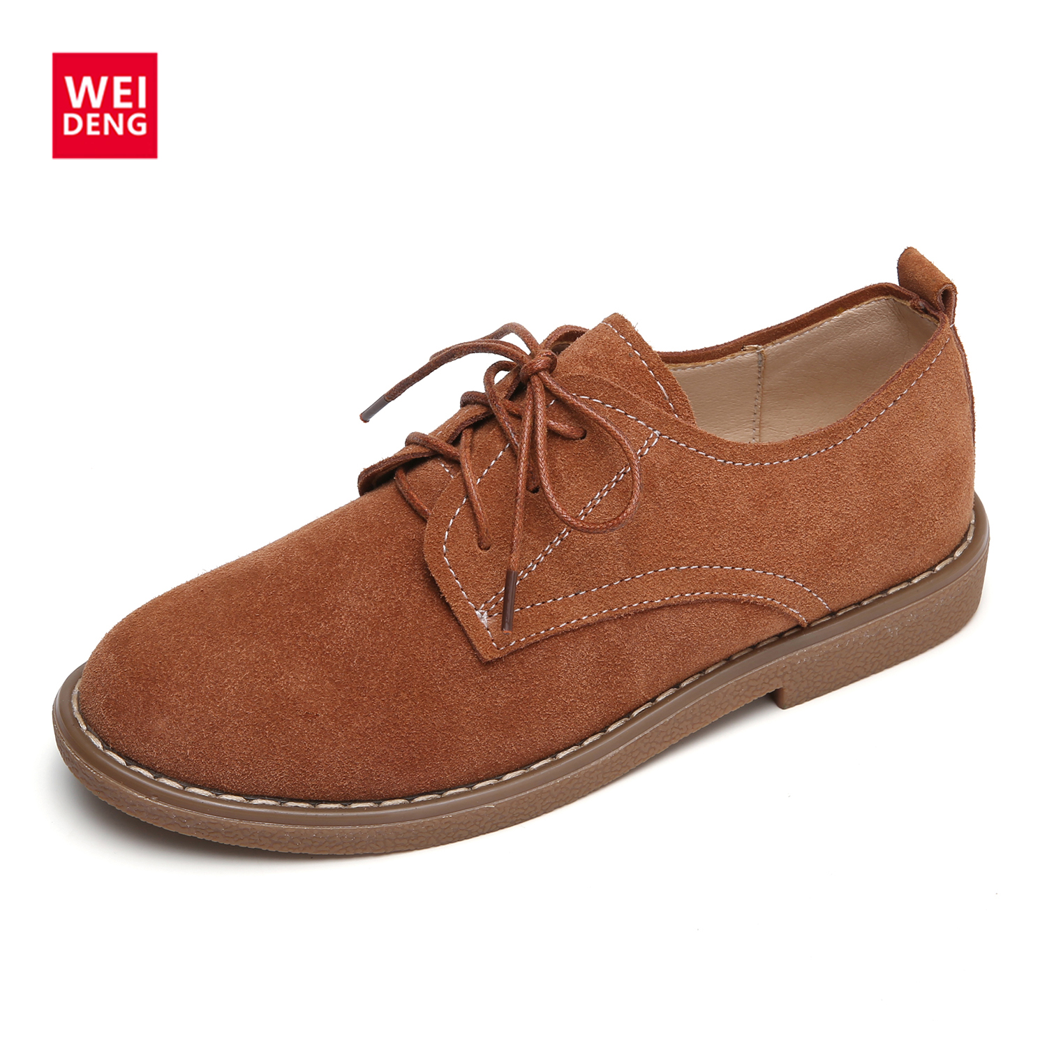 WeiDeng Genuine Leather Cow Suede Flats Oxford Loafers Winter Shoes Lace Up Women Casual Non Slip Fashion Zapato Winter fashion brand genuine leather shoes for women casual mother loafers soft and comfortable oxfords lace up non slip flat moccasins