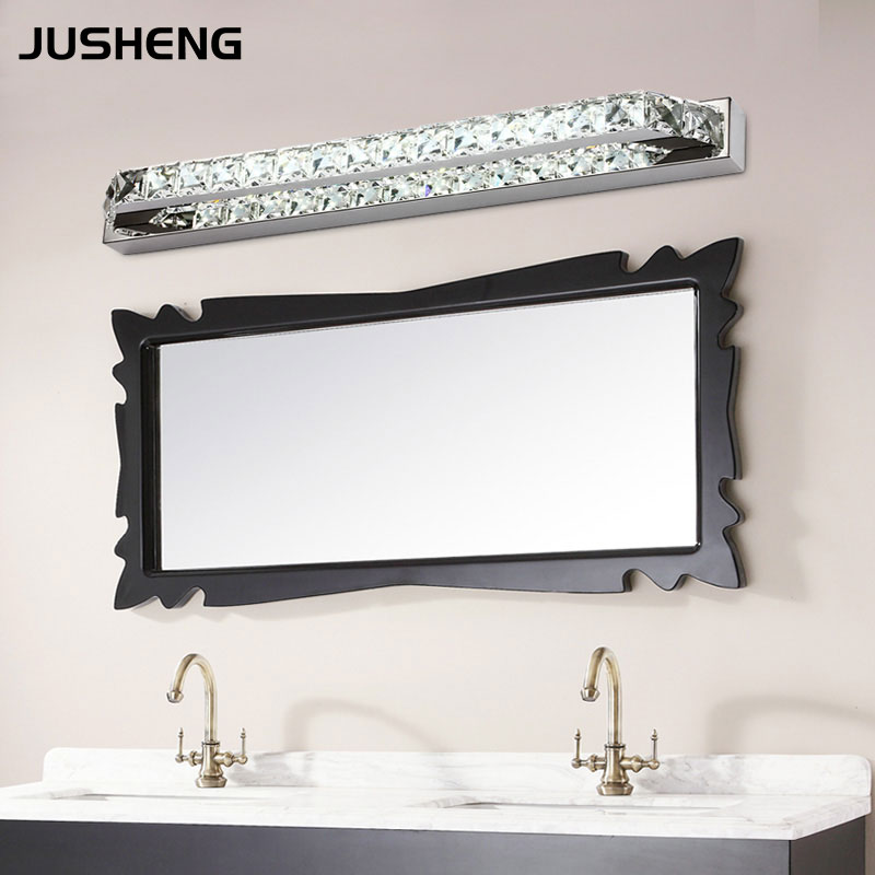 JUSHENG 14W Crystal Bathroom LED Mirror Front Lights Ch&agne\u0026Transparent Crystal Indoor Sconce Lighting 110V / 220V AC-in LED Indoor Wall L&s from ... & JUSHENG 14W Crystal Bathroom LED Mirror Front Lights ...