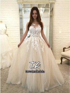 Image 2 - Büyüleyici Scoop Gelinlik 2019 Kolsuz Dantel Tül gelin kıyafeti Vestido de Noiva Prenses gelinlik